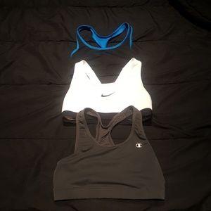 Lot of 3 Sports Bras - Nike & Champion
